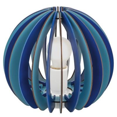 Eglo FABELLA 95951 Светильник для детской комнатыДля детской<br>Настол. лампа в детскую комнату FABELLA, 1х42W(E27), ?250, H225, сталь, синий/дерево, синий применяется преимущественно в домашнем освещении с использованием стандартных выключателей и переключателей для сетей 220V.<br><br>Тип цоколя: E27<br>Количество ламп: 1<br>MAX мощность ламп, Вт: 42<br>Диаметр, мм мм: 250<br>Высота, мм: 225<br>Цвет арматуры: синий