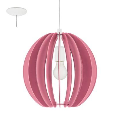 Eglo FABELLA 95953 Светильник для детской комнатыОдиночные<br>Подвес в детскую комнату FABELLA, 1х60W(E27), ?300, H255, сталь, розовый/дерево, розовый применяется преимущественно в домашнем освещении с использованием стандартных выключателей и переключателей для сетей 220V.<br><br>S освещ. до, м2: 3<br>Тип цоколя: E27<br>Количество ламп: 1<br>MAX мощность ламп, Вт: 60<br>Диаметр, мм мм: 300<br>Высота, мм: 1100<br>Цвет арматуры: белый