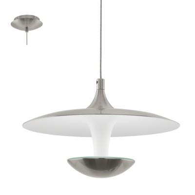 Eglo TORONJA 95955 Подвесной светильникОдиночные<br>Светодиодный подвес TORONJA, 1х5,3W(LED), ?220, H1500, сталь, никель матовый, глянцевый белый применяется преимущественно в домашнем освещении с использованием стандартных выключателей и переключателей для сетей 220V.<br><br>S освещ. до, м2: 2<br>Цветовая t, К: 3000<br>Тип лампы: LED - светодиодная<br>Тип цоколя: LED<br>Количество ламп: 1<br>MAX мощность ламп, Вт: 5<br>Диаметр, мм мм: 220<br>Высота, мм: 1500<br>Цвет арматуры: серебристый никель