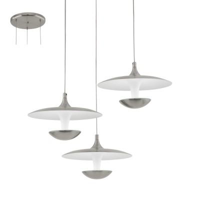 Eglo TORONJA 95956 Подвесной светильникТройные<br>Светодиодный подвес TORONJA, 3х5,3W(LED), ?460, H1500, сталь, никель матовый, глянцевый белый применяется преимущественно в домашнем освещении с использованием стандартных выключателей и переключателей для сетей 220V.<br><br>S освещ. до, м2: 6<br>Цветовая t, К: 3000<br>Тип лампы: LED - светодиодная<br>Тип цоколя: LED<br>Количество ламп: 3<br>MAX мощность ламп, Вт: 5<br>Диаметр, мм мм: 460<br>Высота, мм: 1500<br>Цвет арматуры: серебристый никель
