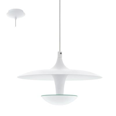 Eglo TORONJA 95958 Подвесной светильникОдиночные<br>Светодиодный подвес TORONJA, 1х5,3W(LED), ?220, H1500, сталь, белый применяется преимущественно в домашнем освещении с использованием стандартных выключателей и переключателей для сетей 220V.<br><br>S освещ. до, м2: 2<br>Цветовая t, К: 3000<br>Тип лампы: LED - светодиодная<br>Тип цоколя: LED<br>Количество ламп: 1<br>MAX мощность ламп, Вт: 5<br>Диаметр, мм мм: 220<br>Высота, мм: 1500<br>Цвет арматуры: белый