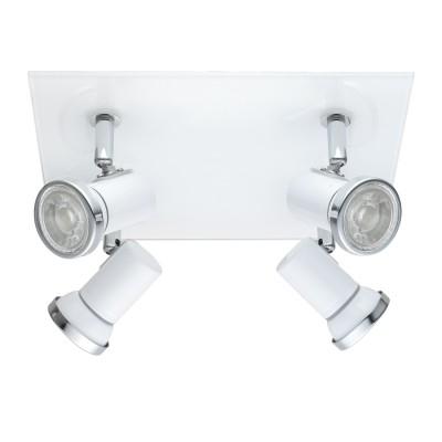 Eglo TAMARA 1 95995 Светильник для ванной комнатыС 4 лампами<br>Светодиодный спот TAMARA 1, в ванн. комнату, 4х3,3W(GU10), 240х260, IP44, сталь, стекло, белый, хром применяется преимущественно в домашнем освещении с использованием стандартных выключателей и переключателей для сетей 220V.<br><br>S освещ. до, м2: 5<br>Тип лампы: LED - светодиодная<br>Тип цоколя: GU10<br>Цвет арматуры: белый, хром<br>Количество ламп: 4<br>Длина, мм: 240<br>Высота, мм: 260<br>MAX мощность ламп, Вт: 3
