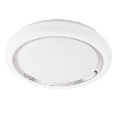 Eglo CAPASSO 96023 Настенно-потолочный светильникКруглые<br>Светодиодный настенно-потолочный светильник CAPASSO, 18W(LED), ?340, сталь, белый/пластик, белый, хром применяется преимущественно в домашнем освещении с использованием стандартных выключателей и переключателей для сетей 220V.<br><br>S освещ. до, м2: 7<br>Цветовая t, К: 3000<br>Тип лампы: LED - светодиодная<br>Тип цоколя: LED<br>Количество ламп: 1<br>MAX мощность ламп, Вт: 18<br>Диаметр, мм мм: 340<br>Высота, мм: 65<br>Цвет арматуры: белый
