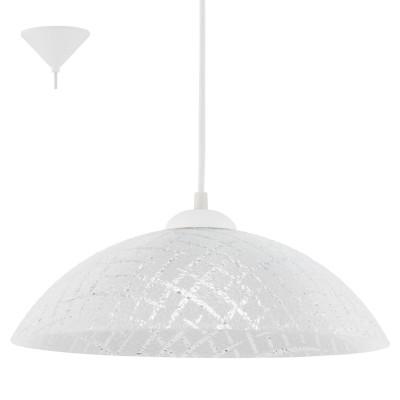 Eglo VETRO 96069 Подвесной светильникОдиночные<br>Подвес VETRO, 1х60W(E27), ?350, пластик, белый/рифленое стекло, белый, прозрачный применяется преимущественно в домашнем освещении с использованием стандартных выключателей и переключателей для сетей 220V.<br><br>S освещ. до, м2: 3<br>Тип цоколя: E27<br>Количество ламп: 1<br>MAX мощность ламп, Вт: 60<br>Диаметр, мм мм: 350<br>Высота, мм: 1100<br>Цвет арматуры: белый