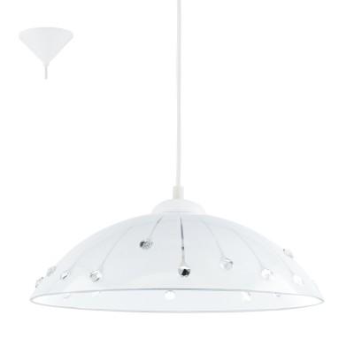 Eglo VETRO 96073 Подвесной светильникОдиночные<br>Подвес VETRO, 1х60W(E27), ?350, пластик, белый/сатин. стекло, хруст, белый, прозрач. применяется преимущественно в домашнем освещении с использованием стандартных выключателей и переключателей для сетей 220V.<br><br>S освещ. до, м2: 3<br>Тип цоколя: E27<br>Количество ламп: 1<br>MAX мощность ламп, Вт: 60<br>Диаметр, мм мм: 350<br>Высота, мм: 1100<br>Цвет арматуры: белый