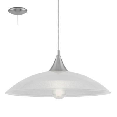 Eglo LAZOLO 96076 Подвесной светильникОдиночные<br>Подвес LAZOLO, 1х60W(E27), ?420, сталь, хром/ стекло, гранилли белый, прозрачный применяется преимущественно в домашнем освещении с использованием стандартных выключателей и переключателей для сетей 220V.<br><br>S освещ. до, м2: 3<br>Тип цоколя: E27<br>Количество ламп: 1<br>MAX мощность ламп, Вт: 60<br>Диаметр, мм мм: 420<br>Высота, мм: 1100<br>Цвет арматуры: серебристый хром
