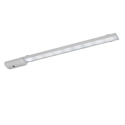 Eglo TEYA 96081 светильники для кухниДля кухни<br>Светодиодный подсветка TEYA c датч. движ. и димм., 8,1W(LED), L600, алюминий, серебро/пластик, белый применяется преимущественно в домашнем освещении с использованием стандартных выключателей и переключателей для сетей 220V.<br><br>Цветовая t, К: 4000<br>Тип лампы: LED - светодиодная<br>Тип цоколя: LED<br>Количество ламп: 1<br>Ширина, мм: 55<br>MAX мощность ламп, Вт: 8<br>Длина, мм: 600<br>Высота, мм: 25<br>Цвет арматуры: серебристый