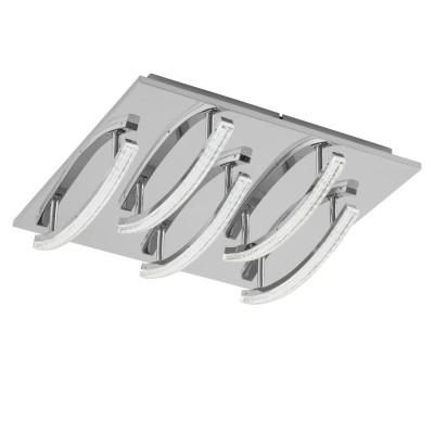 Eglo PERTINI 96095 Настенно-потолочный светильник LEDсовременные потолочные люстры модерн<br>Светодиодный потол. светильник PERTINI, 5х4,3W(LED), 400х400, сталь, алюм., хром/пластик, прозрачный применяется преимущественно в домашнем освещении с использованием стандартных выключателей и переключателей для сетей 220V.<br><br>Установка на натяжной потолок: Да<br>S освещ. до, м2: 8<br>Цветовая t, К: 3000<br>Тип лампы: LED - светодиодная<br>Тип цоколя: LED<br>Цвет арматуры: серебристый<br>Количество ламп: 5<br>Ширина, мм: 400<br>Длина, мм: 400<br>Высота, мм: 90<br>MAX мощность ламп, Вт: 4