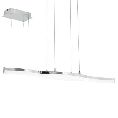 Eglo LASANA 2 96101 Подвесной светильникСветодиодные<br>Светодиодный подвес LASANA 2, 2х10,5W(LED), L960, H1500, сталь, алюм., хром/пластик, белый применяется преимущественно в домашнем освещении с использованием стандартных выключателей и переключателей для сетей 220V.<br><br>S освещ. до, м2: 9<br>Цветовая t, К: 3000<br>Тип лампы: LED - светодиодная<br>Тип цоколя: LED<br>Количество ламп: 2<br>Ширина, мм: 160<br>MAX мощность ламп, Вт: 11<br>Длина, мм: 960<br>Высота, мм: 1500<br>Цвет арматуры: серебристый хром