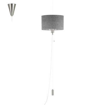 Eglo ROMANO 1 96156 Текстильный подвесОдиночные<br>Подвес ROMANO 1 с рег. высоты и шнур. выкл., 1х60W(E27), ?350, H350-1500, сталь, ник. мат., хром/текстиль, лен, серый применяется преимущественно в домашнем освещении с использованием стандартных выключателей и переключателей для сетей 220V.<br><br>S освещ. до, м2: 3<br>Тип цоколя: E27<br>Количество ламп: 1<br>MAX мощность ламп, Вт: 60<br>Диаметр, мм мм: 350<br>Высота, мм: 1500<br>Цвет арматуры: серебристый никель