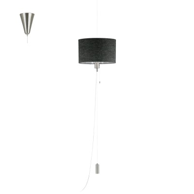 Eglo ROMANO 1 96157 Текстильный подвесОдиночные<br>Подвес ROMANO 1 с рег. высоты и шнур. выкл., 1х60W(E27), ?350, H350-1500, сталь, ник. мат., хром/текстиль, лен, корич. применяется преимущественно в домашнем освещении с использованием стандартных выключателей и переключателей для сетей 220V.<br><br>S освещ. до, м2: 3<br>Тип цоколя: E27<br>Количество ламп: 1<br>MAX мощность ламп, Вт: 60<br>Диаметр, мм мм: 350<br>Высота, мм: 1500<br>Цвет арматуры: серебристый