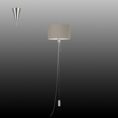 Eglo ROMANO 1 96158 Текстильный подвесОдиночные<br>Подвес ROMANO 1 с рег. высоты и шнур. выкл., 1х60W(E27), ?350, H350-1500, сталь, ник. мат., хром/текстиль, серо-корич. применяется преимущественно в домашнем освещении с использованием стандартных выключателей и переключателей для сетей 220V.<br><br>S освещ. до, м2: 3<br>Тип цоколя: E27<br>Количество ламп: 1<br>MAX мощность ламп, Вт: 60<br>Диаметр, мм мм: 350<br>Высота, мм: 1500<br>Цвет арматуры: серебристый никель