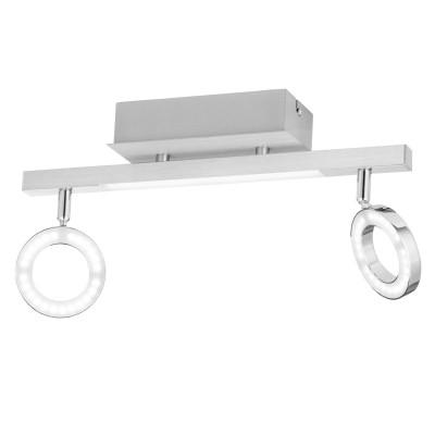 Eglo CARDILLIO 1 96179 Светодиодный спотдвойные светильники споты<br>Светодиодный спот c доп. подсветкой CARDILLIO 1, 2х3,2W(LED), 1х3,3W(LED), L390, алюм., сталь, хром/пластик, матовый применяется преимущественно в домашнем освещении с использованием стандартных выключателей и переключателей для сетей 220V.<br><br>S освещ. до, м2: 3<br>Цветовая t, К: 3000<br>Тип лампы: LED - светодиодная<br>Тип цоколя: LED<br>Цвет арматуры: серебристый, хром<br>Количество ламп: 2<br>Ширина, мм: 85<br>Длина, мм: 390<br>MAX мощность ламп, Вт: 3