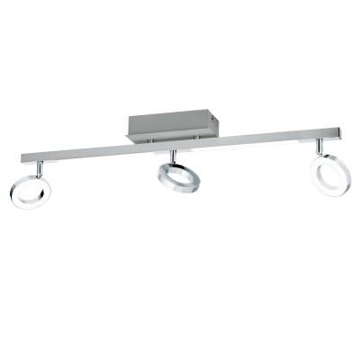 Eglo CARDILLIO 1 96181 Светодиодный спотТройные<br>Светодиодный спот c доп. подсветкой CARDILLIO 1, 3х3,2W(LED), 2х3,3W(LED), L690, алюм., сталь, хром/пластик, матовый применяется преимущественно в домашнем освещении с использованием стандартных выключателей и переключателей для сетей 220V.<br><br>S освещ. до, м2: 4<br>Цветовая t, К: 3000<br>Тип лампы: LED - светодиодная<br>Тип цоколя: LED<br>Цвет арматуры: серебристый<br>Количество ламп: 3<br>Ширина, мм: 85<br>Длина, мм: 690<br>MAX мощность ламп, Вт: 3