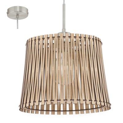 Eglo SENDERO 96191 Подвесной светильникОдиночные<br>Подвес SENDERO, 1х60W(E27), ?300, сталь, никель мат./дерево, клен применяется преимущественно в домашнем освещении с использованием стандартных выключателей и переключателей для сетей 220V.<br><br>S освещ. до, м2: 3<br>Тип цоколя: E27<br>Количество ламп: 1<br>MAX мощность ламп, Вт: 60<br>Диаметр, мм мм: 300<br>Высота, мм: 1100<br>Цвет арматуры: серебристый