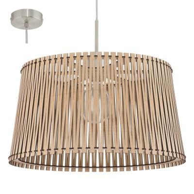 Eglo SENDERO 96193 Подвесной светильникОдиночные<br>Подвес SENDERO, 1х60W(E27), ?450, H1300, сталь, никель мат./дерево, клен применяется преимущественно в домашнем освещении с использованием стандартных выключателей и переключателей для сетей 220V.<br><br>S освещ. до, м2: 3<br>Тип цоколя: E27<br>Цвет арматуры: никель матовый<br>Количество ламп: 1<br>Диаметр, мм мм: 450<br>Высота, мм: 1100<br>MAX мощность ламп, Вт: 60