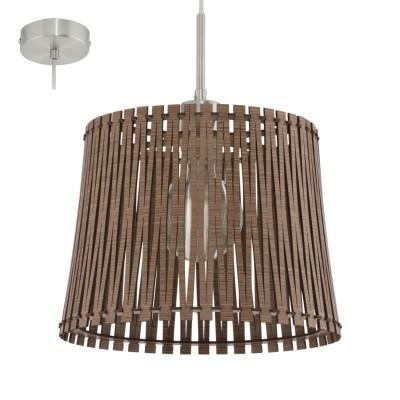 Eglo SENDERO 96197 Подвесной светильникОдиночные<br>Подвес SENDERO, 1х60W(E27), ?300, сталь, никель мат./дерево, темно-коричневый применяется преимущественно в домашнем освещении с использованием стандартных выключателей и переключателей для сетей 220V.<br><br>Тип лампы: Накаливания / энергосбережения / светодиодная<br>Тип цоколя: E27<br>Цвет арматуры: никель матовый<br>Количество ламп: 1<br>Диаметр, мм мм: 300<br>Высота, мм: 1100<br>MAX мощность ламп, Вт: 60
