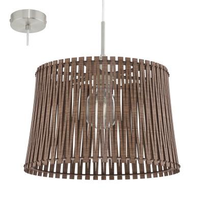 Eglo SENDERO 96198 Подвесной светильникОдиночные<br>Подвес SENDERO, 1х60W(E27), ?380, сталь, никель мат./дерево, темно-коричневый применяется преимущественно в домашнем освещении с использованием стандартных выключателей и переключателей для сетей 220V.<br><br>S освещ. до, м2: 3<br>Тип цоколя: E27<br>Количество ламп: 1<br>MAX мощность ламп, Вт: 60<br>Диаметр, мм мм: 380<br>Высота, мм: 1100<br>Цвет арматуры: серебристый никель