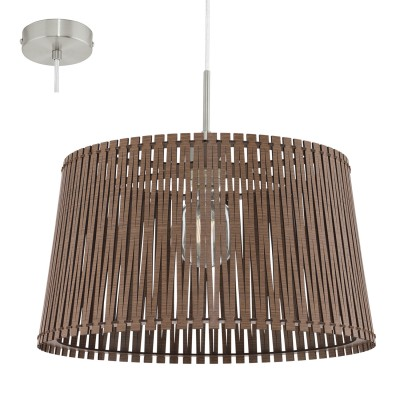 Eglo SENDERO 96199 Подвесной светильникОдиночные<br>Подвес SENDERO, 1х60W(E27), ?450, H1300, сталь, никель мат./дерево, темно-коричневый применяется преимущественно в домашнем освещении с использованием стандартных выключателей и переключателей для сетей 220V.<br><br>S освещ. до, м2: 3<br>Тип цоколя: E27<br>Количество ламп: 1<br>MAX мощность ламп, Вт: 60<br>Диаметр, мм мм: 450<br>Высота, мм: 1100<br>Цвет арматуры: серебристый никель