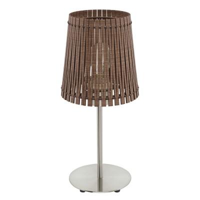 Eglo SENDERO 96203 Настольная лампаСовременные<br>Настольная лампа SENDERO, 1х60W(E27), ?180, H415, сталь, никель мат./дерево, темно-коричневый применяется преимущественно в домашнем освещении с использованием стандартных выключателей и переключателей для сетей 220V.<br><br>Тип цоколя: E27<br>Количество ламп: 1<br>MAX мощность ламп, Вт: 60<br>Диаметр, мм мм: 180<br>Высота, мм: 415<br>Цвет арматуры: серебристый никель