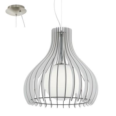 Eglo TINDORI 96211 Подвесной светильникОдиночные<br>Подвес TINDORI, 1х60W(E27), ?500, H2000, сталь, никель мат./дерево, стекло, белый применяется преимущественно в домашнем освещении с использованием стандартных выключателей и переключателей для сетей 220V.<br><br>S освещ. до, м2: 3<br>Тип лампы: Накаливания / энергосбережения / светодиодная<br>Тип цоколя: E27<br>Количество ламп: 1<br>MAX мощность ламп, Вт: 60<br>Диаметр, мм мм: 500<br>Высота, мм: 2000<br>Цвет арматуры: серебристый никель