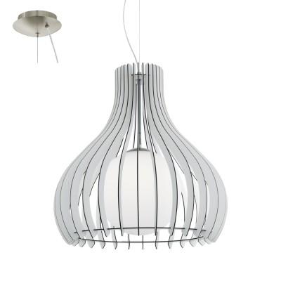 Eglo TINDORI 96212 Подвесной светильникОдиночные<br>Подвес TINDORI, 1х60W(E27), ?600, H2000, сталь, никель мат./дерево, стекло, белый применяется преимущественно в домашнем освещении с использованием стандартных выключателей и переключателей для сетей 220V.<br><br>S освещ. до, м2: 3<br>Тип цоколя: E27<br>Цвет арматуры: серебристый<br>Количество ламп: 1<br>Диаметр, мм мм: 600<br>Высота, мм: 2000<br>MAX мощность ламп, Вт: 60
