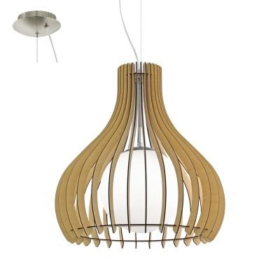 Eglo TINDORI 96214 Подвесной светильникОдиночные<br>Подвес TINDORI, 1х60W(E27), ?500, H2000, сталь, никель мат./дерево, стекло, клен, белый применяется преимущественно в домашнем освещении с использованием стандартных выключателей и переключателей для сетей 220V.<br><br>Тип цоколя: E27<br>Количество ламп: 1<br>MAX мощность ламп, Вт: 60<br>Диаметр, мм мм: 500<br>Высота, мм: 2000<br>Цвет арматуры: никель матовый