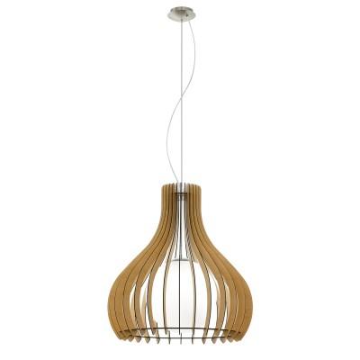 Eglo TINDORI 96215 Подвесной светильникОдиночные<br>Подвес TINDORI, 1х60W(E27), ?600, H2000, сталь, никель мат./дерево, стекло, клен, белый применяется преимущественно в домашнем освещении с использованием стандартных выключателей и переключателей для сетей 220V.<br><br>Тип цоколя: E27<br>Количество ламп: 1<br>MAX мощность ламп, Вт: 60<br>Диаметр, мм мм: 600<br>Высота, мм: 2000<br>Цвет арматуры: никель матовый