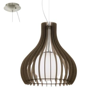 Eglo TINDORI 96217 Подвесной светильникОдиночные<br>Подвес TINDORI, 1х60W(E27), ?500, H2000, сталь, никель мат./дерево, стекло, коричневый, белый применяется преимущественно в домашнем освещении с использованием стандартных выключателей и переключателей для сетей 220V.<br><br>Тип цоколя: E27<br>Количество ламп: 1<br>MAX мощность ламп, Вт: 60<br>Диаметр, мм мм: 500<br>Высота, мм: 2000<br>Цвет арматуры: никель матовый