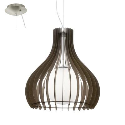 Eglo TINDORI 96218 Подвесной светильникОдиночные<br>Подвес TINDORI, 1х60W(E27), ?600, H2000, сталь, никель мат./дерево, стекло, коричневый, белый применяется преимущественно в домашнем освещении с использованием стандартных выключателей и переключателей для сетей 220V.<br><br>S освещ. до, м2: 3<br>Тип цоколя: E27<br>Цвет арматуры: серебристый<br>Количество ламп: 1<br>Диаметр, мм мм: 600<br>Высота, мм: 2000<br>MAX мощность ламп, Вт: 60