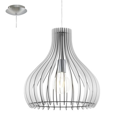 Eglo TINDORI 96257 Подвесной светильникОдиночные<br>Подвес TINDORI, 1х60W(E27), ?380,  сталь, никель матовый/дерево, белый применяется преимущественно в домашнем освещении с использованием стандартных выключателей и переключателей для сетей 220V.<br><br>S освещ. до, м2: 3<br>Тип цоколя: E27<br>Цвет арматуры: серебристый<br>Количество ламп: 1<br>Диаметр, мм мм: 380<br>Высота, мм: 1100<br>MAX мощность ламп, Вт: 60