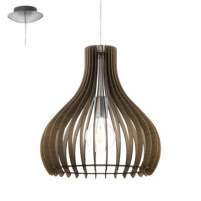 Eglo TINDORI 96259 Подвесной светильникОдиночные<br>Подвес TINDORI, 1х60W(E27), ?380, сталь, никель матовый/дерево, темно-коричневый применяется преимущественно в домашнем освещении с использованием стандартных выключателей и переключателей для сетей 220V.<br><br>Тип цоколя: E27<br>Цвет арматуры: никель матовый<br>Количество ламп: 1<br>Диаметр, мм мм: 380<br>Высота, мм: 1100<br>MAX мощность ламп, Вт: 60