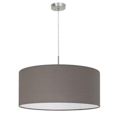 96381 Eglo - Подвес PASTERIодиночные подвесные светильники<br><br><br>Установка на натяжной потолок: Да<br>S освещ. до, м2: 3<br>Крепление: Планка<br>Тип лампы: Накаливания / энергосбережения / светодиодная<br>Тип цоколя: E27<br>Цвет арматуры: серебристый<br>Количество ламп: 1<br>Диаметр, мм мм: 530<br>Высота полная, мм: 1100<br>Высота, мм: 500<br>Поверхность арматуры: матовая<br>Оттенок (цвет): никель<br>MAX мощность ламп, Вт: 60
