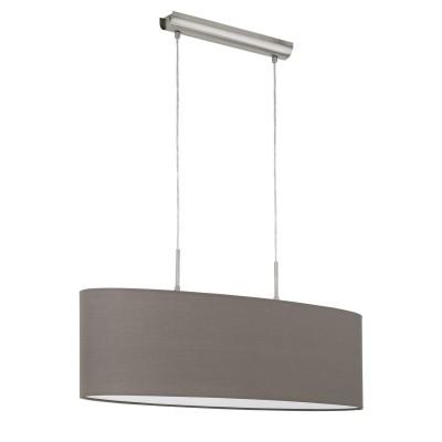 96382 Eglo - Подвес PASTERIподвесные светильники на 2 лампы<br><br><br>Установка на натяжной потолок: Да<br>S освещ. до, м2: 6<br>Крепление: Планка<br>Тип лампы: Накаливания / энергосбережения / светодиодная<br>Тип цоколя: E27<br>Цвет арматуры: серебристый<br>Количество ламп: 2<br>Ширина, мм: 220<br>Высота полная, мм: 1100<br>Длина, мм: 750<br>Высота, мм: 500<br>Поверхность арматуры: матовая<br>Оттенок (цвет): никель<br>MAX мощность ламп, Вт: 60<br>Общая мощность, Вт: 120