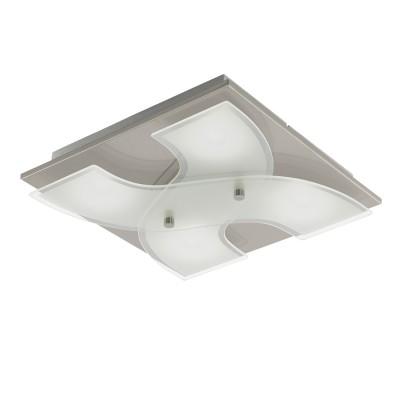 96397 Eglo - Светодиодный светильник настенно-потолочный DIRUSквадратные светильники<br><br><br>Установка на натяжной потолок: Да<br>Крепление: Планка<br>Цветовая t, К: 3000<br>Тип лампы: LED - светодиодная<br>Тип цоколя: LED, встроенные светодиоды<br>Цвет арматуры: серебристый<br>Количество ламп: 4<br>Ширина, мм: 290<br>Длина, мм: 290<br>Высота, мм: 70<br>Поверхность арматуры: матовая<br>Оттенок (цвет): никель<br>MAX мощность ламп, Вт: 3.3<br>Общая мощность, Вт: 13.2