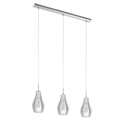 96425 Eglo - Подвес ALVAREDOТройные<br><br><br>Установка на натяжной потолок: Да<br>Крепление: Планка<br>Тип лампы: Накаливания / энергосбережения / светодиодная<br>Тип цоколя: E14<br>Цвет арматуры: серебристый<br>Количество ламп: 3<br>Ширина, мм: 130<br>Высота полная, мм: 1100<br>Длина, мм: 730<br>Поверхность арматуры: глянцевая<br>Оттенок (цвет): серебристый<br>MAX мощность ламп, Вт: 40<br>Общая мощность, Вт: 120