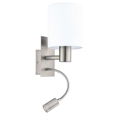 96477 Eglo - Бра PASTERI cо светод. подсветкой для чтениясовременные бра модерн<br><br><br>S освещ. до, м2: 2<br>Тип лампы: Накаливания / энергосбережения / светодиодная<br>Тип цоколя: E27/LED - светодиод<br>Цвет арматуры: серебристый<br>Количество ламп: 2<br>Ширина, мм: 150<br>Расстояние от стены, мм: 195<br>Высота, мм: 380<br>Поверхность арматуры: матовая<br>Оттенок (цвет): никель<br>MAX мощность ламп, Вт: 60/3.5