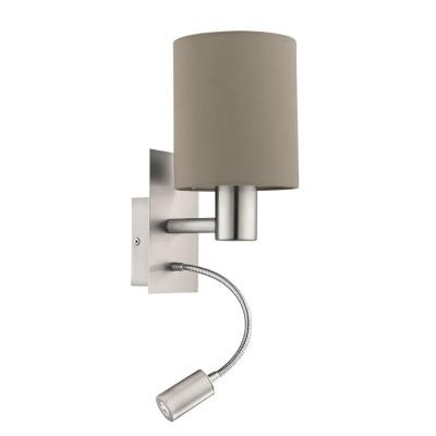 96478 Eglo - Бра PASTERI cо светод. подсветкой для чтениясовременные бра модерн<br><br><br>S освещ. до, м2: 2<br>Тип лампы: Накаливания / энергосбережения / светодиодная<br>Тип цоколя: E27/LED - светодиод<br>Цвет арматуры: серебристый<br>Количество ламп: 2<br>Ширина, мм: 150<br>Расстояние от стены, мм: 195<br>Высота, мм: 380<br>Поверхность арматуры: матовая<br>Оттенок (цвет): никель<br>MAX мощность ламп, Вт: 60/3.5