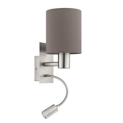 96481 Eglo - Бра PASTERI cо светод. подсветкой для чтениясовременные бра модерн<br><br><br>S освещ. до, м2: 2<br>Тип лампы: Накаливания / энергосбережения / светодиодная<br>Тип цоколя: E27/LED - светодиод<br>Цвет арматуры: серебристый<br>Количество ламп: 2<br>Ширина, мм: 150<br>Расстояние от стены, мм: 195<br>Высота, мм: 380<br>Поверхность арматуры: матовая<br>Оттенок (цвет): никель<br>MAX мощность ламп, Вт: 60/3.5