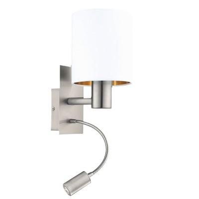 96484 Eglo - Бра PASTERI cо светод. подсветкой для чтениясовременные бра модерн<br><br><br>S освещ. до, м2: 2<br>Тип лампы: Накаливания / энергосбережения / светодиодная<br>Тип цоколя: E27/LED - светодиод<br>Цвет арматуры: серебристый<br>Количество ламп: 2<br>Ширина, мм: 150<br>Расстояние от стены, мм: 195<br>Высота, мм: 380<br>Поверхность арматуры: матовая<br>Оттенок (цвет): никель<br>MAX мощность ламп, Вт: 60/3.5