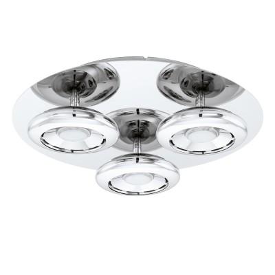96506 Eglo - Светодиодный потол. светильник TARUGO 1 диммир.люстры хай тек потолочные<br><br><br>Установка на натяжной потолок: Да<br>Крепление: Планка<br>Цветовая t, К: 3000<br>Тип лампы: LED - светодиодная<br>Тип цоколя: LED, встроенные светодиоды<br>Цвет арматуры: серебристый<br>Количество ламп: 3<br>Диаметр, мм мм: 350<br>Высота, мм: 85<br>Поверхность арматуры: глянцевая<br>Оттенок (цвет): серебристый<br>MAX мощность ламп, Вт: 4.5<br>Общая мощность, Вт: 13.5