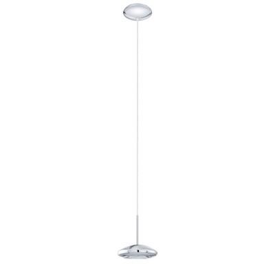 96507 Eglo - Светодиодный подвес TARUGO 1 диммир.Одиночные<br><br><br>Установка на натяжной потолок: Да<br>Крепление: Планка<br>Цветовая t, К: 3000<br>Тип лампы: LED - светодиодная<br>Тип цоколя: LED, встроенные светодиоды<br>Цвет арматуры: серебристый<br>Количество ламп: 1<br>Диаметр, мм мм: 125<br>Высота полная, мм: 1100<br>Поверхность арматуры: глянцевая<br>Оттенок (цвет): серебристый<br>Общая мощность, Вт: 5.2