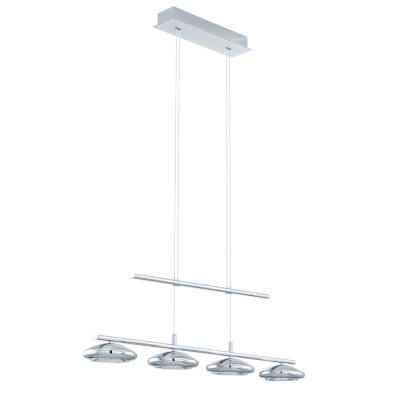 96511 Eglo - Светодиодный подвес TARUGO 1 с регул. высоты и димм.Длинные 4+<br><br><br>Установка на натяжной потолок: Да<br>Крепление: Планка<br>Цветовая t, К: 3000<br>Тип лампы: LED - светодиодная<br>Тип цоколя: LED, встроенные светодиоды<br>Цвет арматуры: серебристый<br>Количество ламп: 4<br>Ширина, мм: 125<br>Высота, мм: 640<br>Поверхность арматуры: матовая<br>Оттенок (цвет): серебристый<br>MAX мощность ламп, Вт: 4.5<br>Общая мощность, Вт: 18