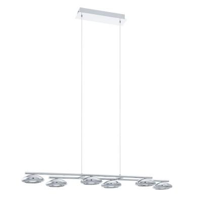 96512 Eglo - Cветодиод. подвес TARUGA 1 диммир.Длинные 4+<br><br><br>Установка на натяжной потолок: Да<br>Крепление: Планка<br>Цветовая t, К: 3000<br>Тип лампы: LED - светодиодная<br>Тип цоколя: LED, встроенные светодиоды<br>Цвет арматуры: серебристый<br>Количество ламп: 4<br>Ширина, мм: 235<br>Высота полная, мм: 1100<br>Длина, мм: 975<br>Поверхность арматуры: матовая<br>Оттенок (цвет): серебристый<br>MAX мощность ламп, Вт: 4.5<br>Общая мощность, Вт: 27