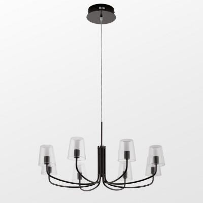96514 Eglo - Светодиодная люстра NOVENTA 1 диммир.современные подвесные люстры модерн<br><br><br>Установка на натяжной потолок: Да<br>Крепление: Планка<br>Цветовая t, К: 3000<br>Тип лампы: LED - светодиодная<br>Тип цоколя: LED, встроенные светодиоды<br>Цвет арматуры: черный<br>Количество ламп: 8<br>Диаметр, мм мм: 825<br>Высота полная, мм: 1500<br>Высота, мм: 500<br>Поверхность арматуры: глянцевая<br>Оттенок (цвет): черный<br>MAX мощность ламп, Вт: 3.3<br>Общая мощность, Вт: 26.4