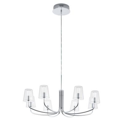 96516 Eglo - Светодиодная люстра NOVENTA 1 диммир.современные подвесные люстры модерн<br><br><br>Установка на натяжной потолок: Да<br>Крепление: Планка<br>Цветовая t, К: 3000<br>Тип лампы: LED - светодиодная<br>Тип цоколя: LED, встроенные светодиоды<br>Цвет арматуры: серебристый<br>Количество ламп: 8<br>Диаметр, мм мм: 825<br>Высота полная, мм: 1500<br>Поверхность арматуры: глянцевая<br>Оттенок (цвет): серебристый<br>MAX мощность ламп, Вт: 3.3<br>Общая мощность, Вт: 26.4