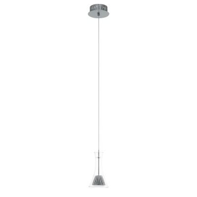96517 Eglo - Светодиодный подвес MUSERO 1 диммир.Одиночные<br><br><br>Установка на натяжной потолок: Да<br>Крепление: Планка<br>Цветовая t, К: 3000<br>Тип лампы: LED - светодиодная<br>Тип цоколя: LED, встроенные светодиоды<br>Цвет арматуры: серебристый<br>Количество ламп: 1<br>Диаметр, мм мм: 130<br>Высота полная, мм: 1100<br>Поверхность арматуры: матовая<br>Оттенок (цвет): серебристый<br>MAX мощность ламп, Вт: 5.4