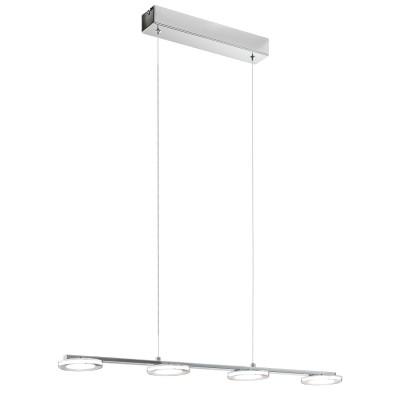 96525 Eglo - Светодиодный подвес CARTAMA 1 диммир.длинные подвесные светильники<br><br><br>Установка на натяжной потолок: Да<br>Крепление: Планка<br>Цветовая t, К: 3000<br>Тип лампы: LED - светодиодная<br>Тип цоколя: LED, встроенные светодиоды<br>Цвет арматуры: серебристый<br>Количество ламп: 4<br>Ширина, мм: 115<br>Высота полная, мм: 1100<br>Длина, мм: 775<br>Поверхность арматуры: матовая<br>Оттенок (цвет): серебристый<br>MAX мощность ламп, Вт: 4.5<br>Общая мощность, Вт: 18