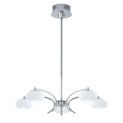 96529 Eglo - Светодиодный подвес ALEANDRO 1 с регул. высоты и димм.современные потолочные люстры модерн<br><br><br>Установка на натяжной потолок: Да<br>S освещ. до, м2: 9<br>Крепление: Планка<br>Цветовая t, К: 3000<br>Тип лампы: LED-светодиодная<br>Тип цоколя: LED<br>Цвет арматуры: серебристый<br>Количество ламп: 5<br>Диаметр, мм мм: 660<br>Высота полная, мм: 1100<br>Высота, мм: 610 - 1050<br>Поверхность арматуры: глянцевая<br>Оттенок (цвет): серебристый<br>MAX мощность ламп, Вт: 4.5<br>Общая мощность, Вт: 22.5