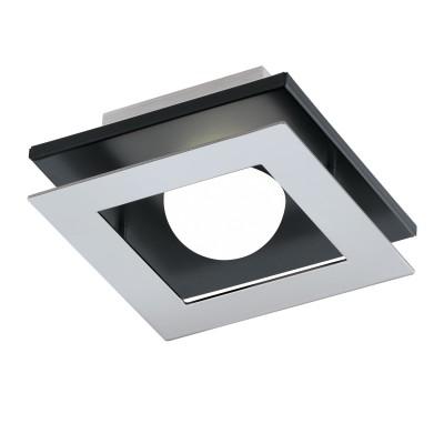 96531 Eglo - Светодиодный светильник настенно-потолочный BELAMONTE 1 диммир.квадратные светильники<br><br><br>Установка на натяжной потолок: Да<br>Крепление: Планка<br>Цветовая t, К: 3000<br>Тип лампы: LED - светодиодная<br>Тип цоколя: LED, встроенные светодиоды<br>Цвет арматуры: черный/серебристый<br>Количество ламп: 1<br>Ширина, мм: 140<br>Длина, мм: 140<br>Высота, мм: 65<br>Поверхность арматуры: матовая<br>Оттенок (цвет): серебристый<br>MAX мощность ламп, Вт: 5.4